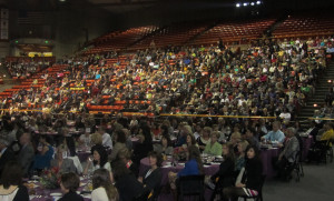 PACKED HOUSE: The crowd listens to the Advancing Women's Leadership forum. PHOTO BY VALERIE SMITH