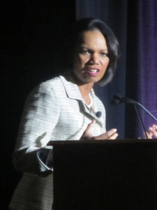 CAPTURING ATTENTION: Dr. Condoleezza Rice spoke about numerous topics during her keynote address. PHOTO BY VALERIE SMITH